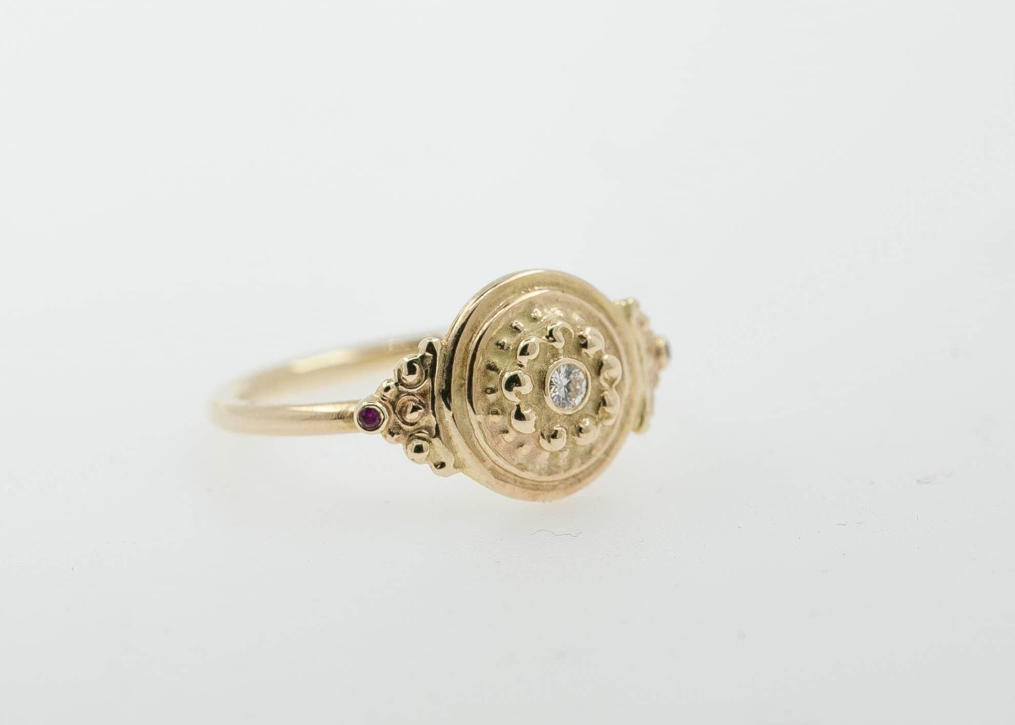 14k gold, 2mm white diamond, 1mm Ruby