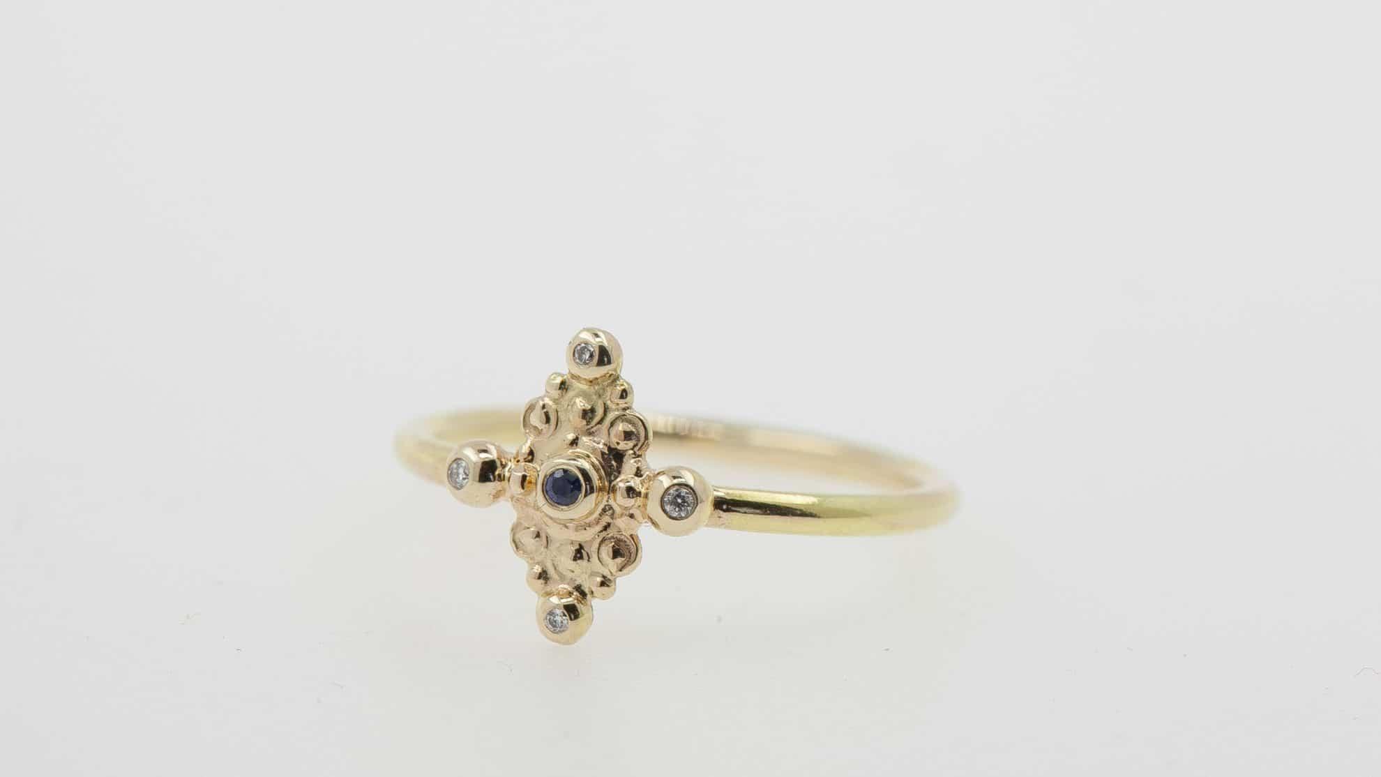 14k gold, Blue Sapphire, white diamond