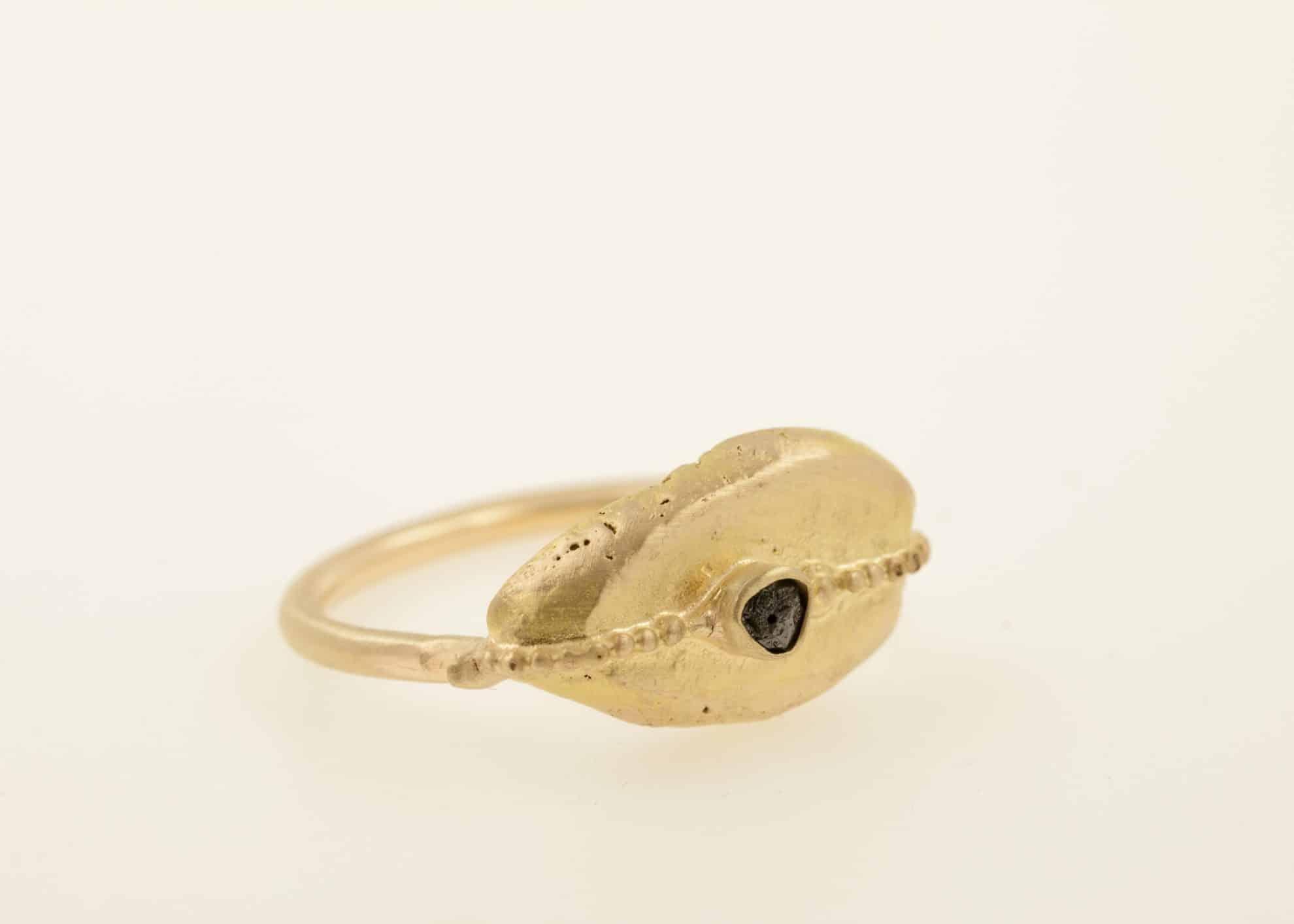 14kt gold, 22kt gold, raw black diamond