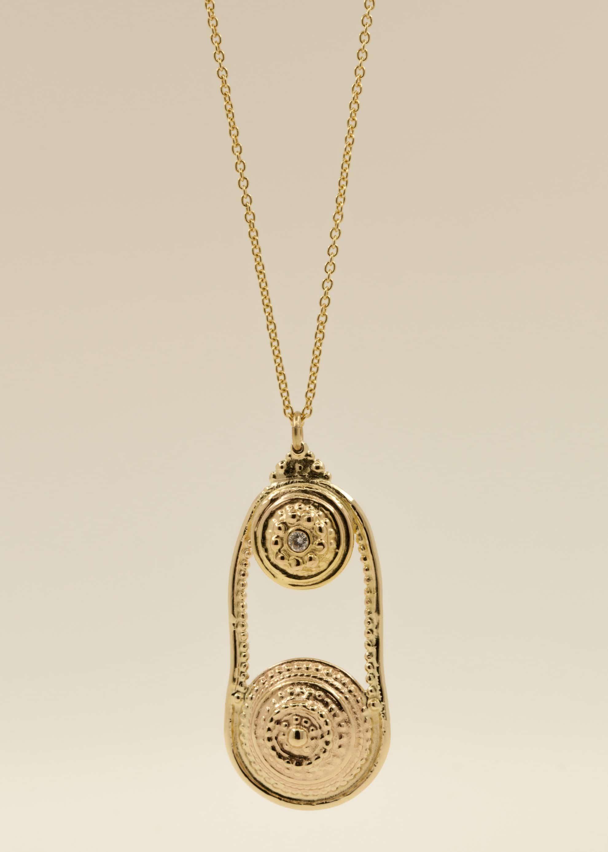 14kt gold, 18kt gold necklace, 2mm white diamond