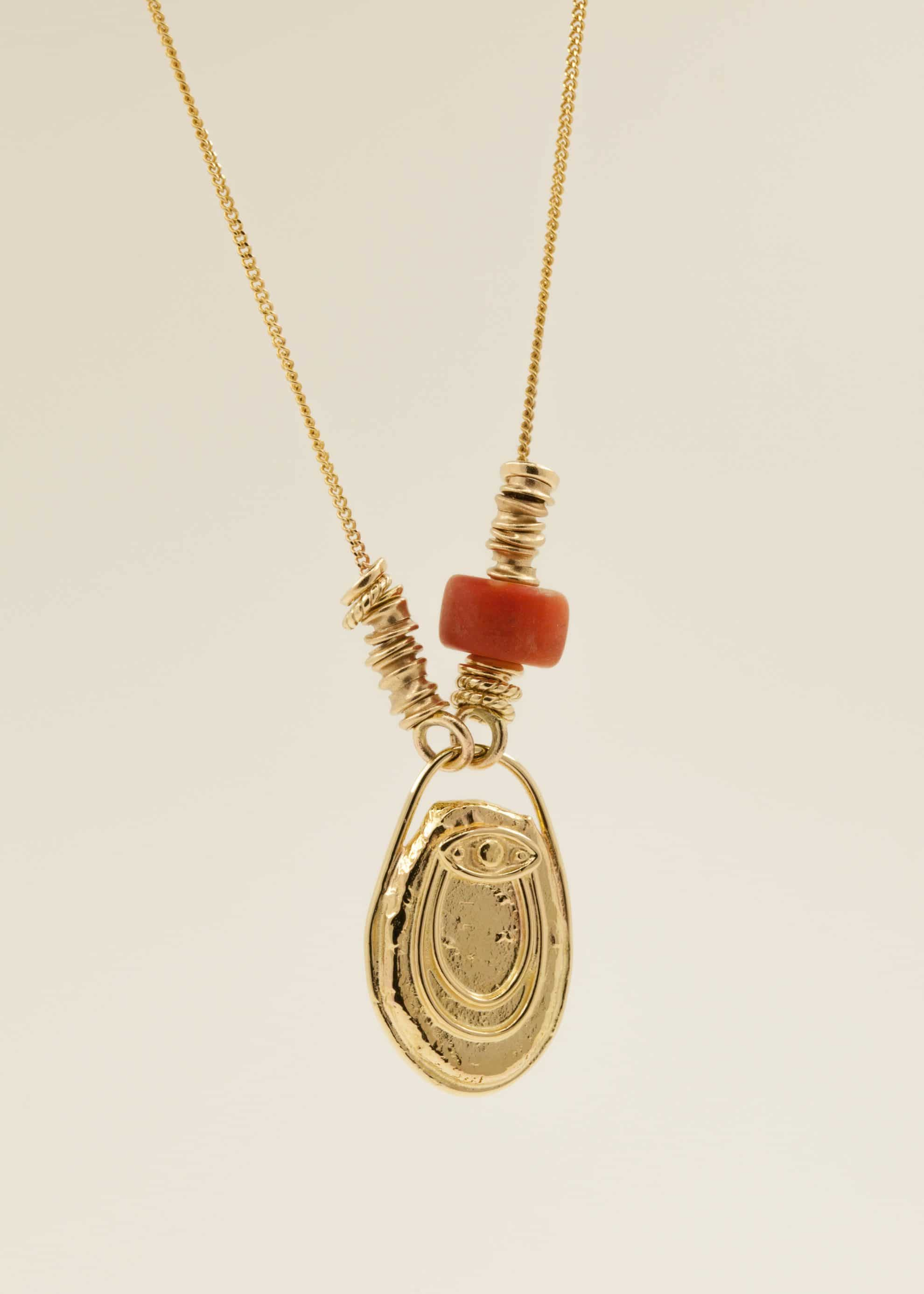 14kt gold, Tibetan red coral
