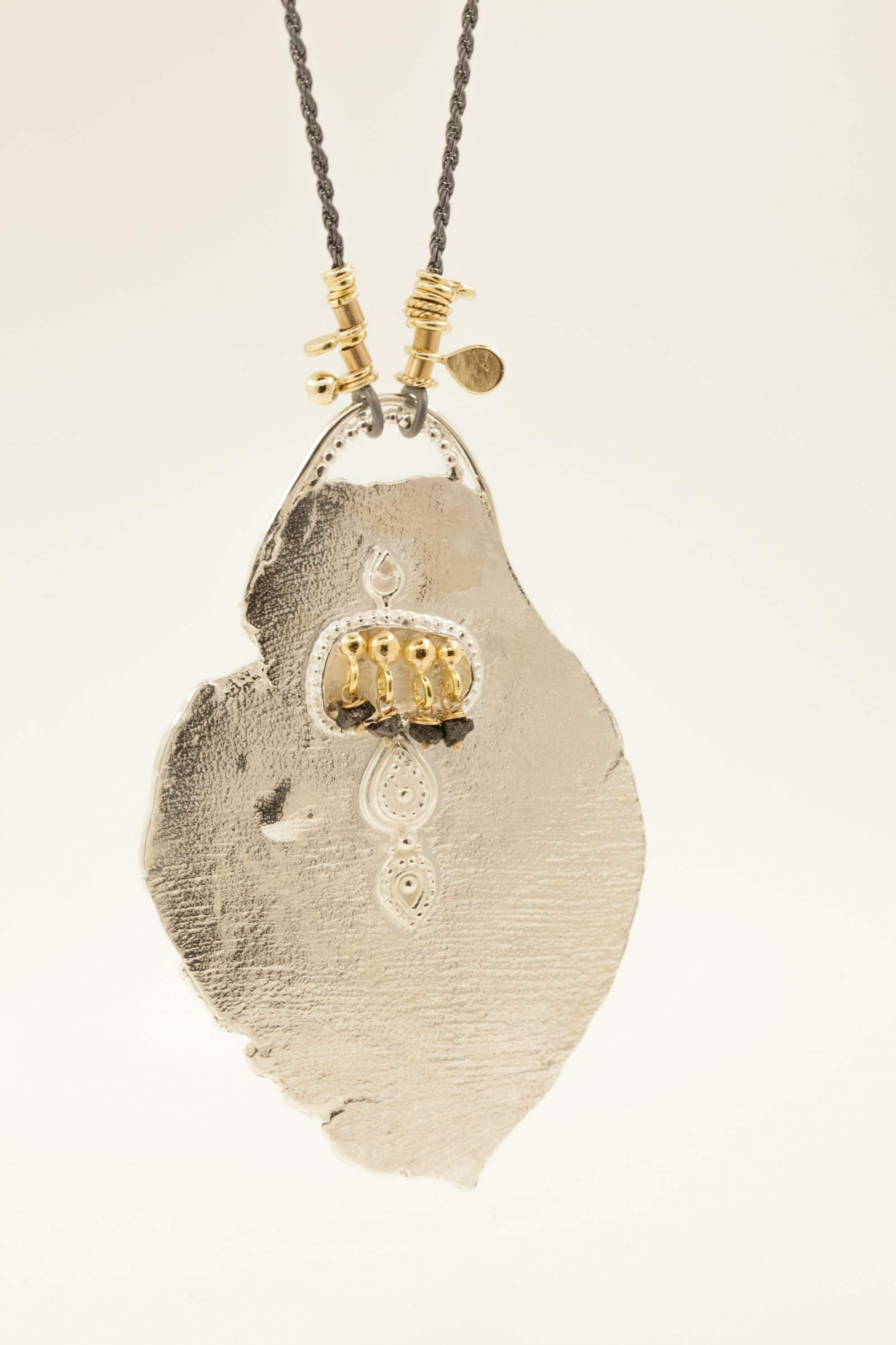 Sterling silver, 14kt gold, 18kt gold, 4 black raw diamonds, oxidised sterling silver chain