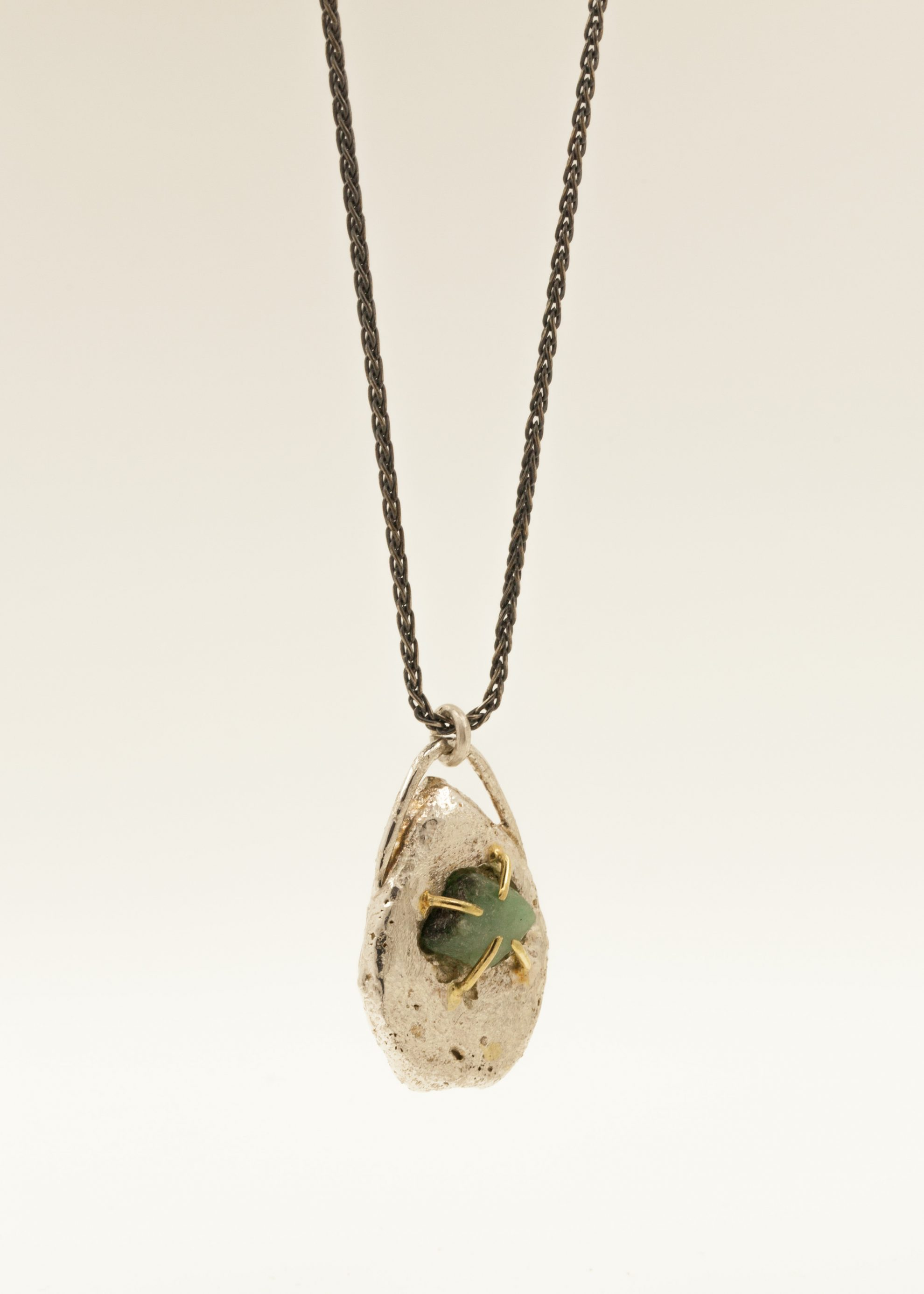 Sterling silver, 18kt gold, raw Emerald, oxidised sterling silver chain