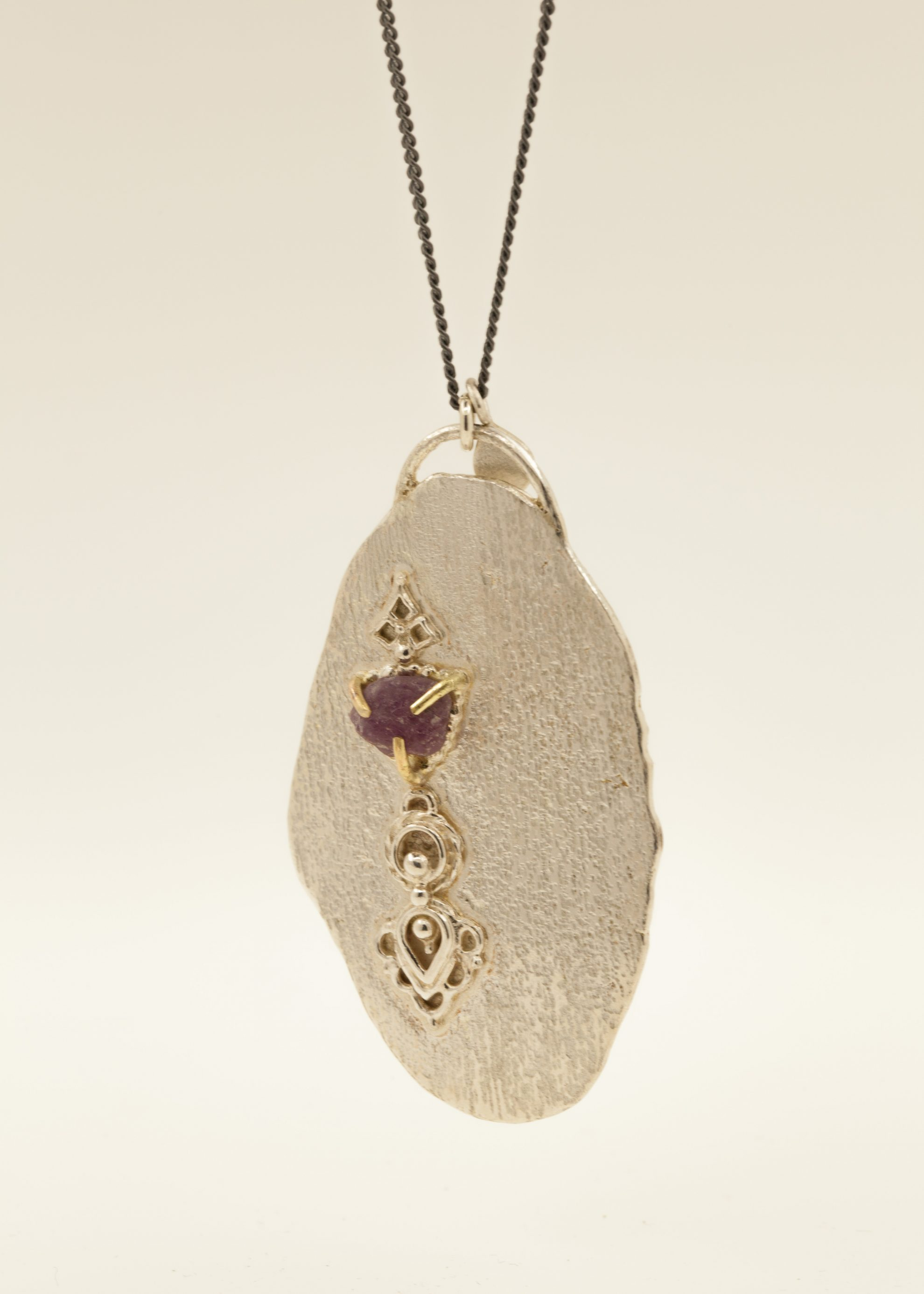 Sterling silver, 18kt gold, raw Ruby, oxidised sterling silver chain