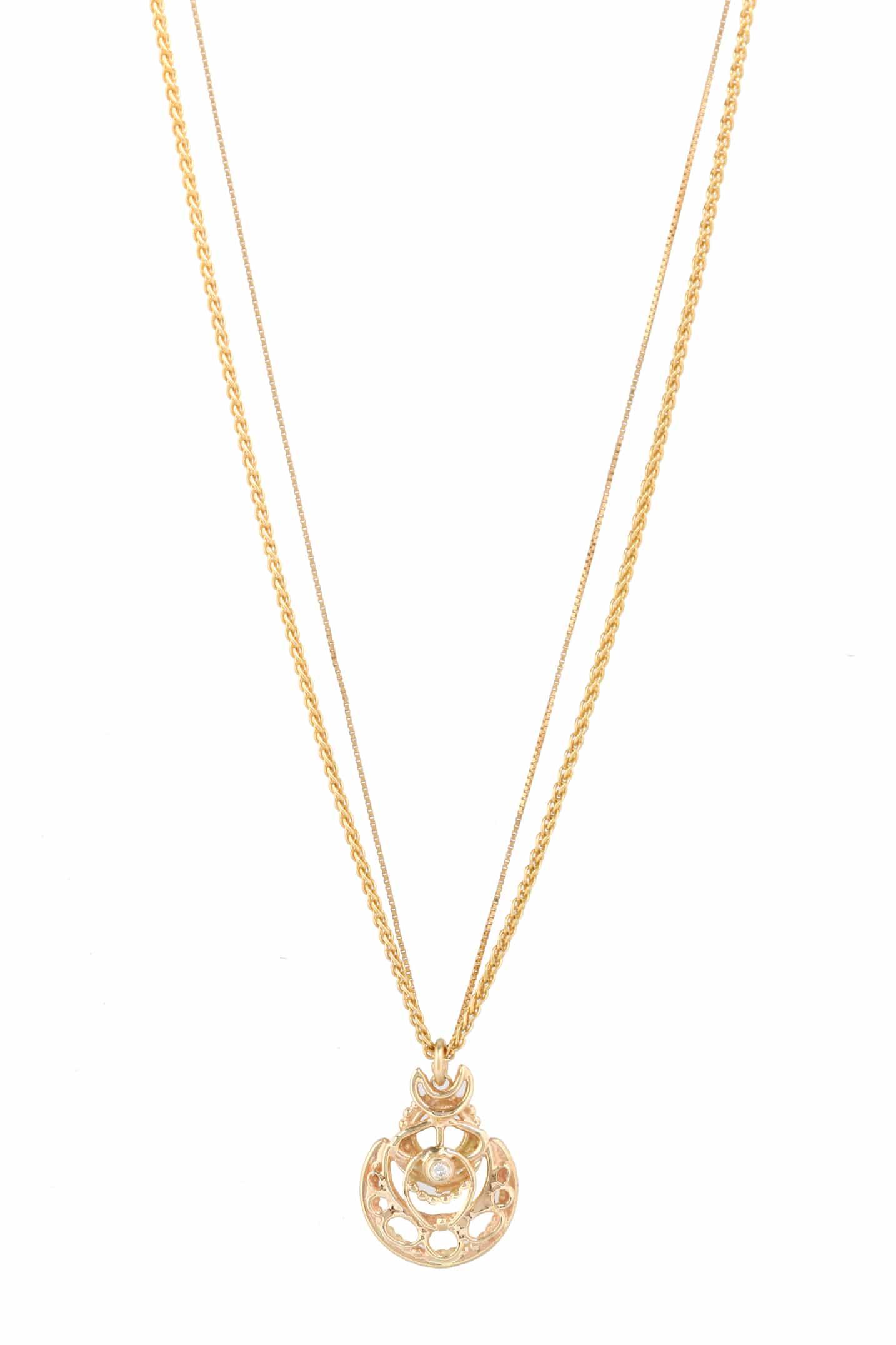 14kt gold, 2mm white diamond