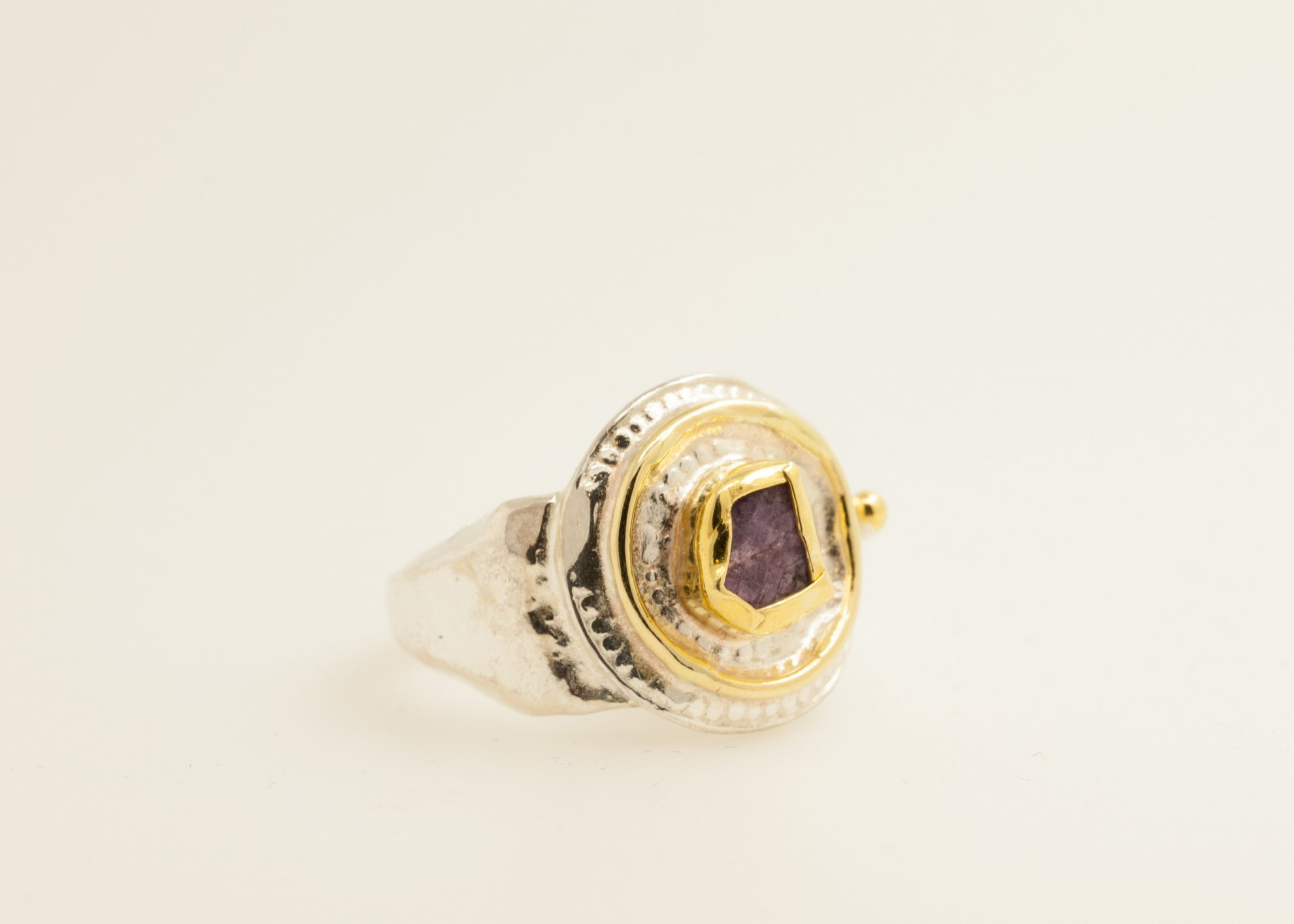 Sterling silver, 22kt gold, 18kt gold, raw Ruby