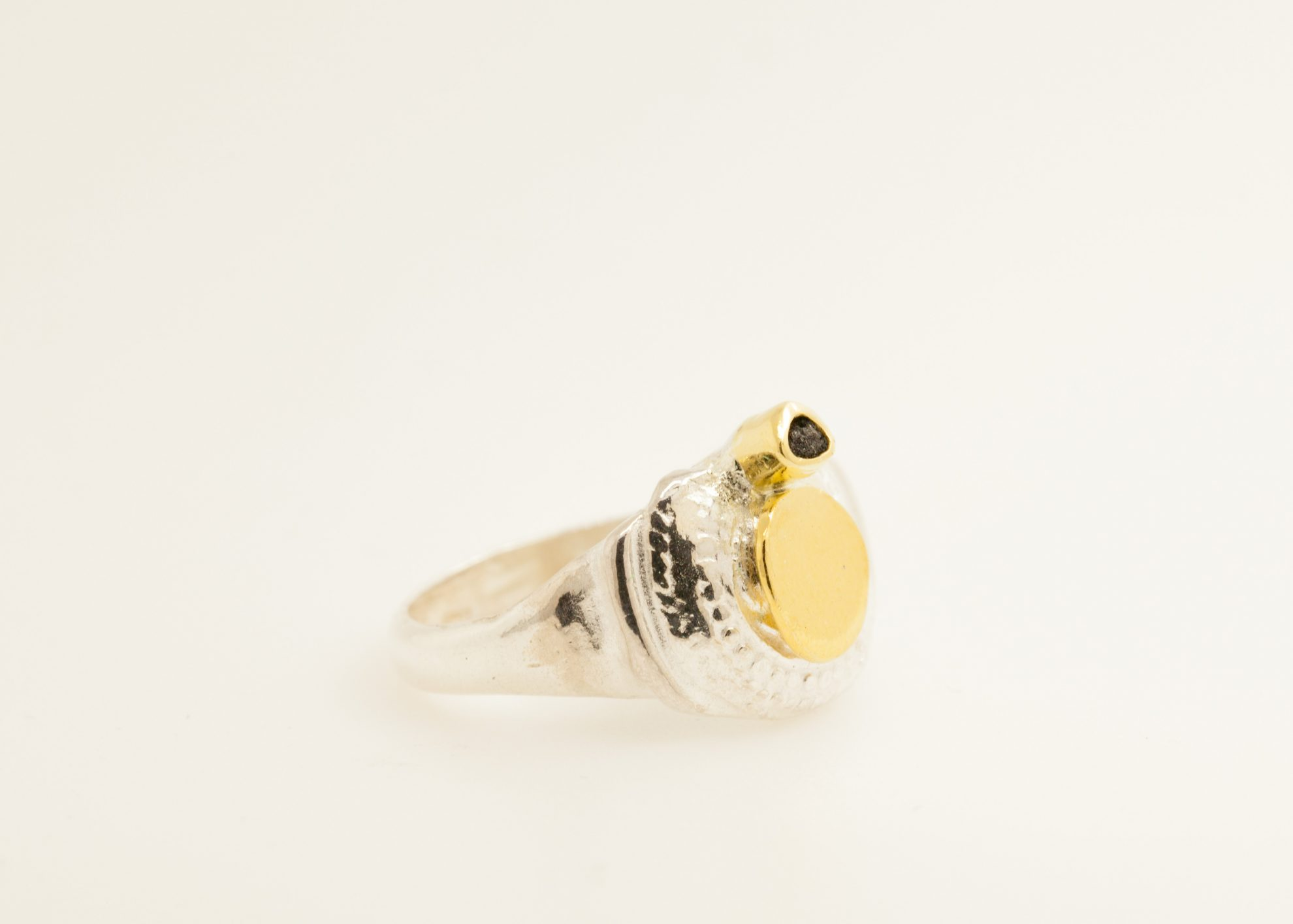 Sterling silver, 24kt gold, 22kt gold, raw black diamond