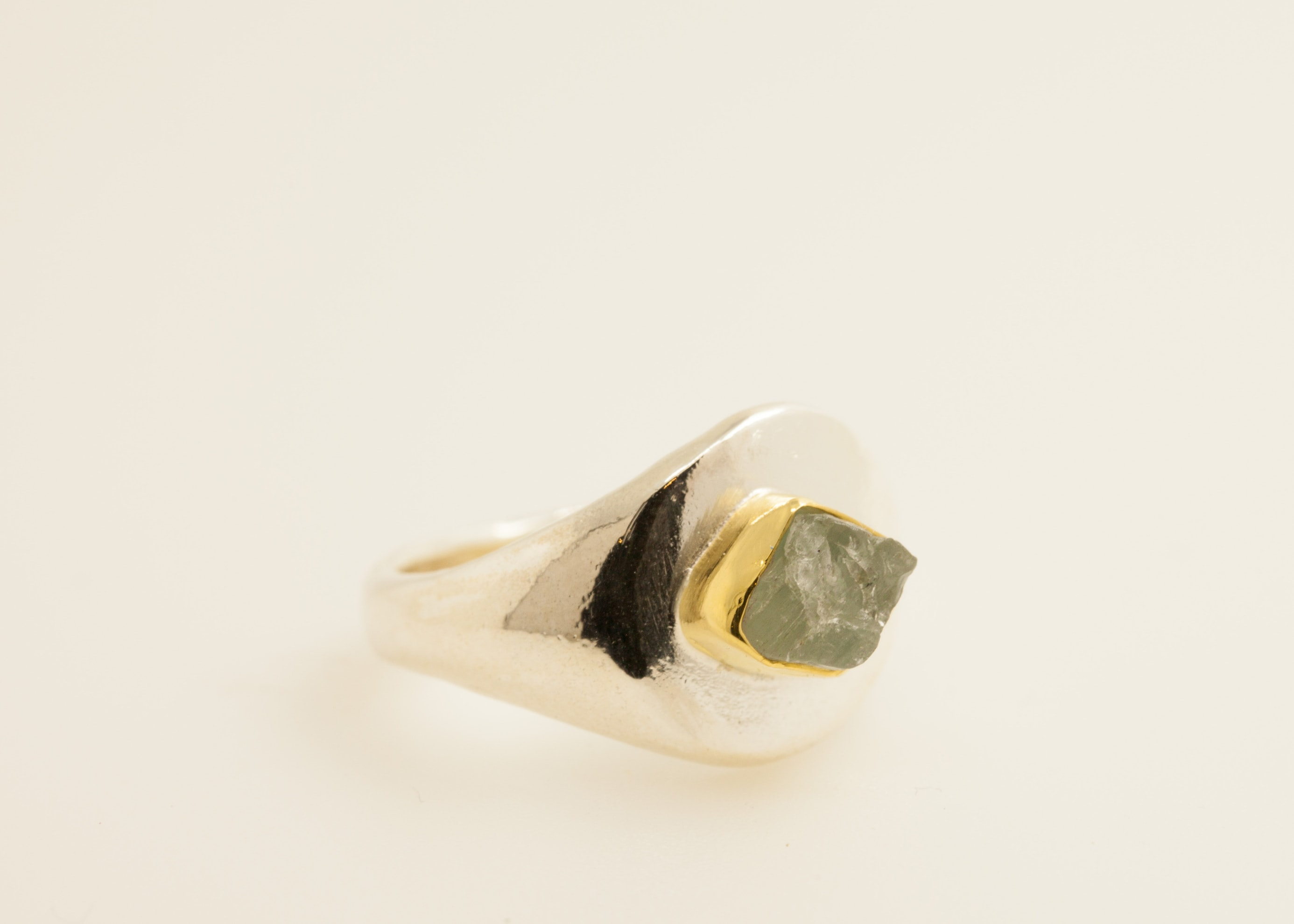 Sterling silver, 22kt gold, rough Aqua-marine